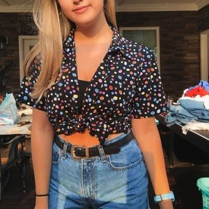 Unique Vintage Polka Dot Tie Shirt